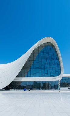 Admire the curves and collections of the Heydar Aliyev Centre