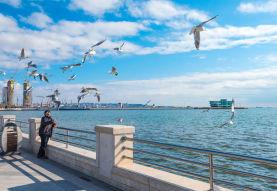 Stroll along Caspian seaside  boulevard