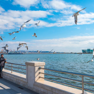 Stroll along Caspian seaside  boulevard